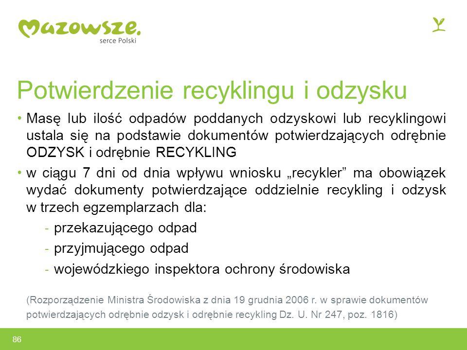 Potwierdzenie recyklingu i odzysku