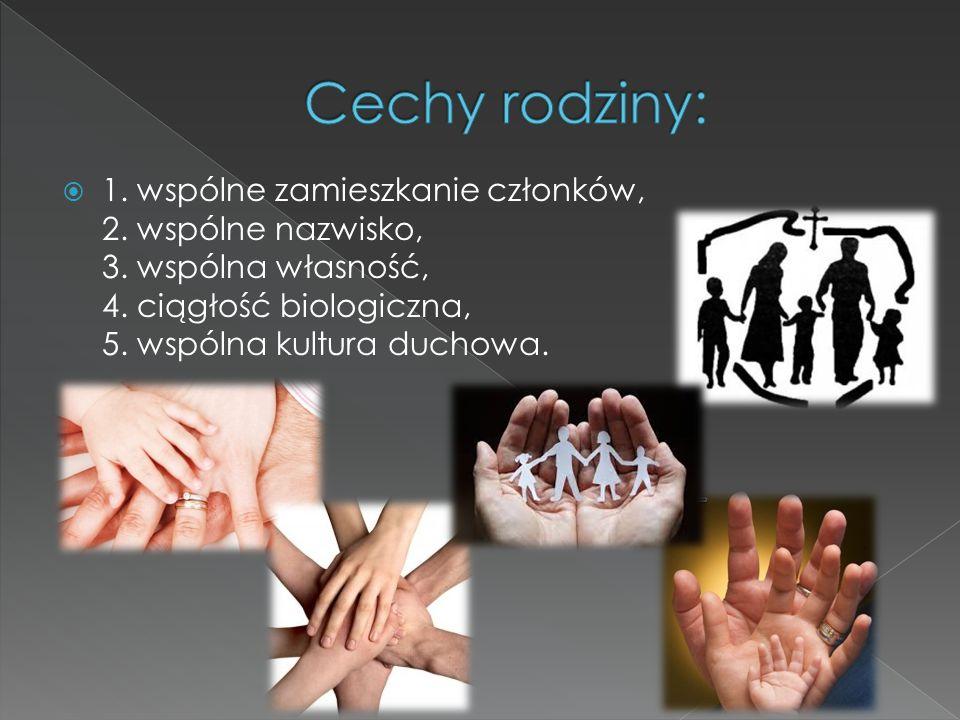 Cechy rodziny: 1. wspólne zamieszkanie członków, 2.