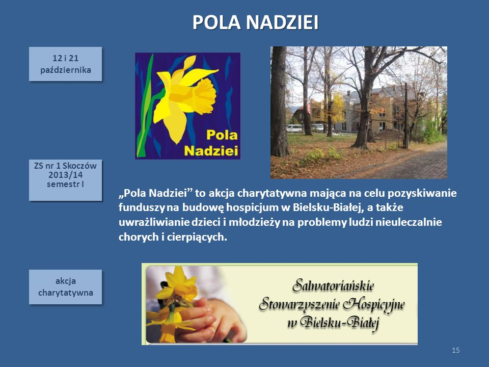 POLA NADZIEI 12 i 21. października. ZS nr 1 Skoczów 2013/14. semestr I.