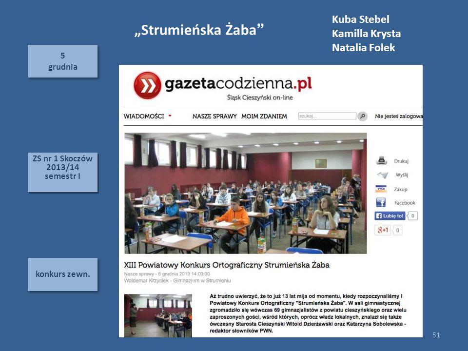 """""""Strumieńska Żaba Kuba Stebel Kamilla Krysta Natalia Folek 5 grudnia"""