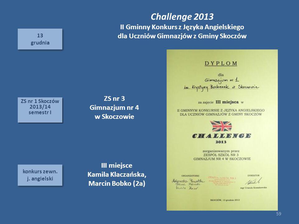 Challenge 2013 II Gminny Konkurs z Języka Angielskiego