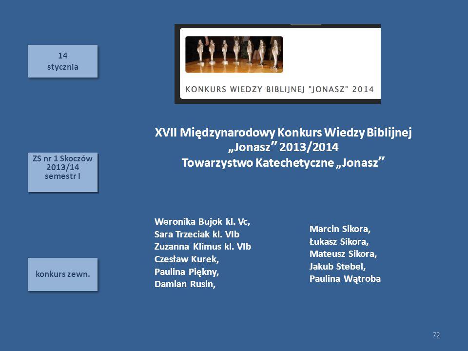 """XVII Międzynarodowy Konkurs Wiedzy Biblijnej """"Jonasz 2013/2014"""