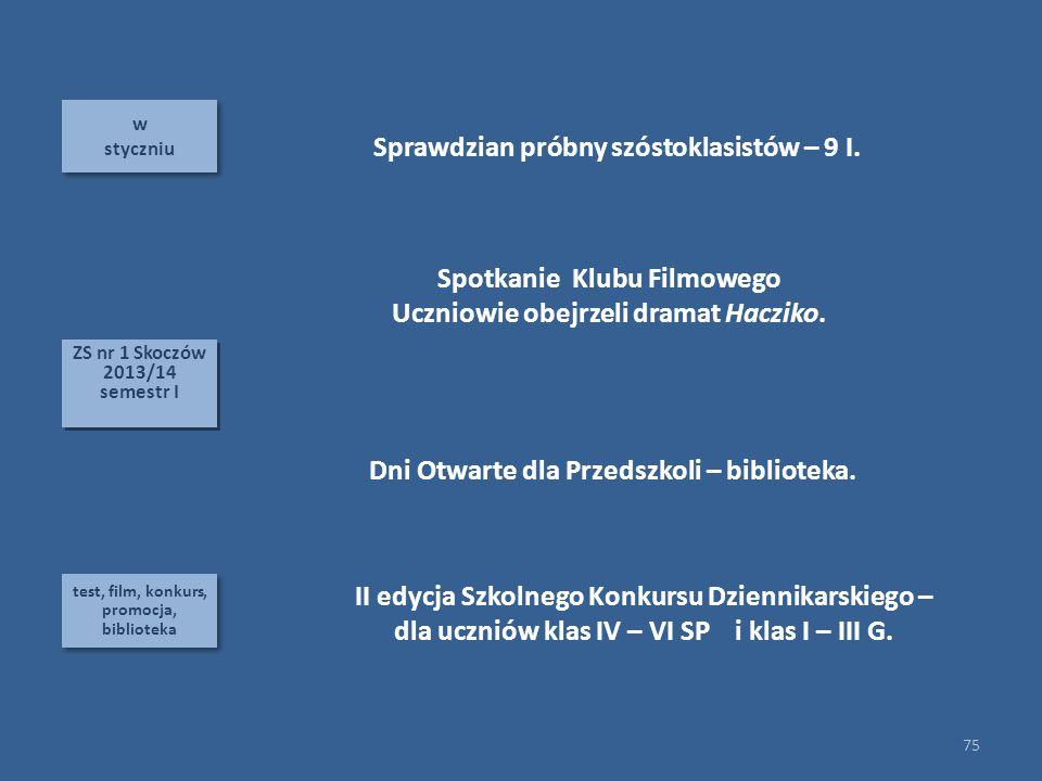 Sprawdzian próbny szóstoklasistów – 9 I.