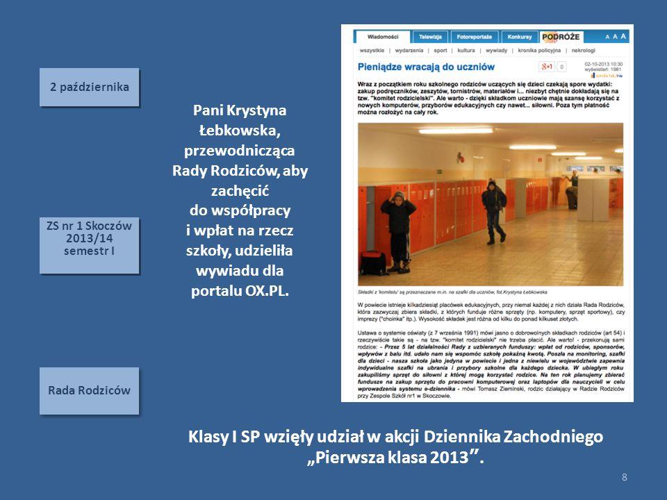 2 października Pani Krystyna Łebkowska, przewodnicząca Rady Rodziców, aby zachęcić. do współpracy.