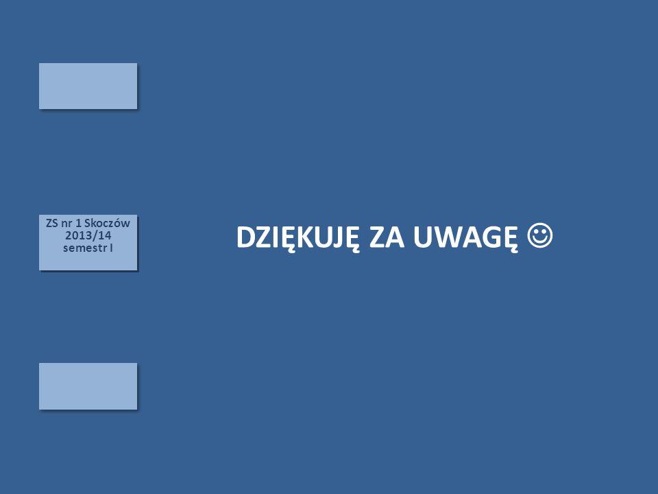 ZS nr 1 Skoczów 2013/14 semestr I DZIĘKUJĘ ZA UWAGĘ 