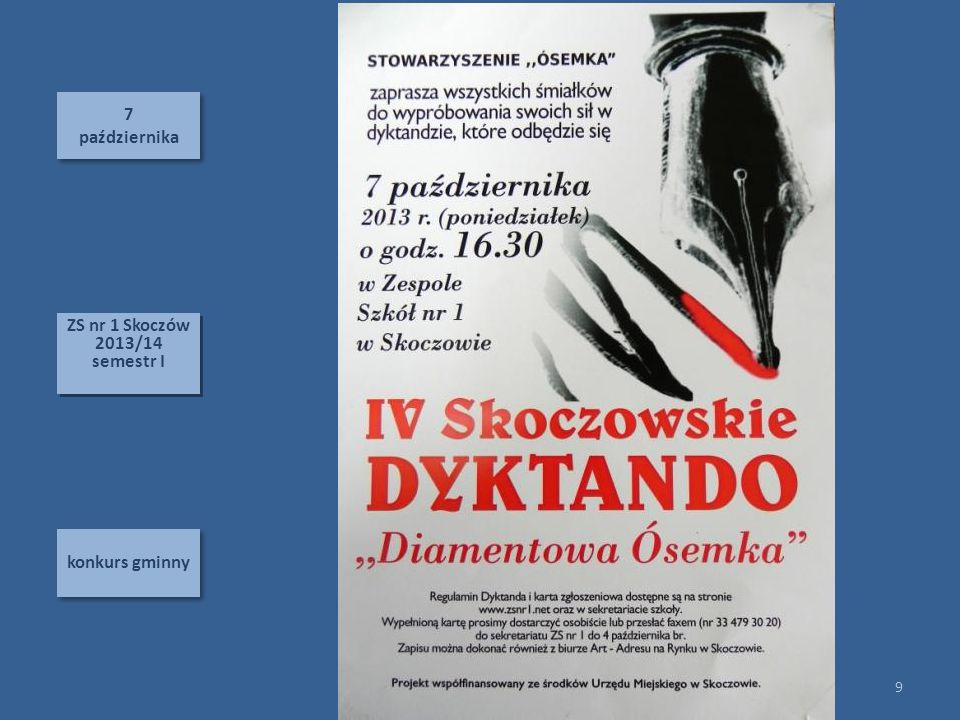 7 października ZS nr 1 Skoczów 2013/14 semestr I konkurs gminny