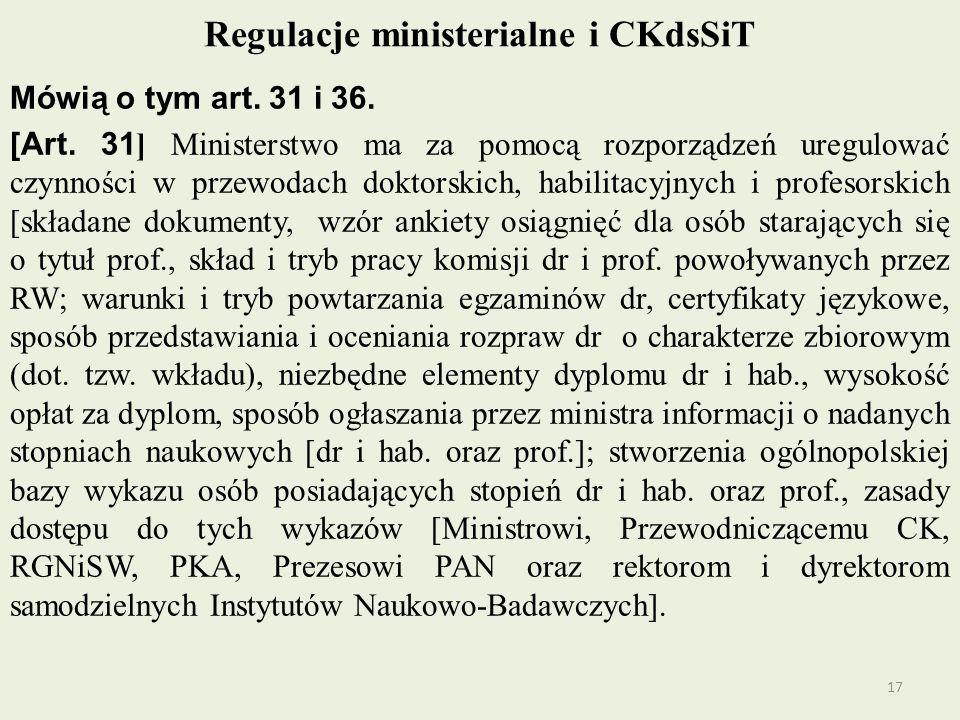 Regulacje ministerialne i CKdsSiT