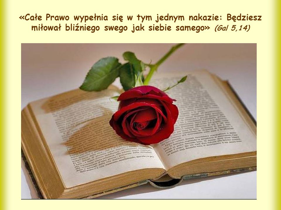 «Całe Prawo wypełnia się w tym jednym nakazie: Będziesz miłował bliźniego swego jak siebie samego» (Gal 5,14)