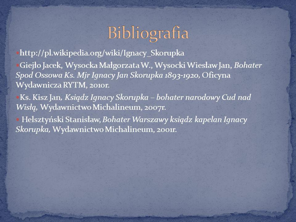 Bibliografia http://pl.wikipedia.org/wiki/Ignacy_Skorupka