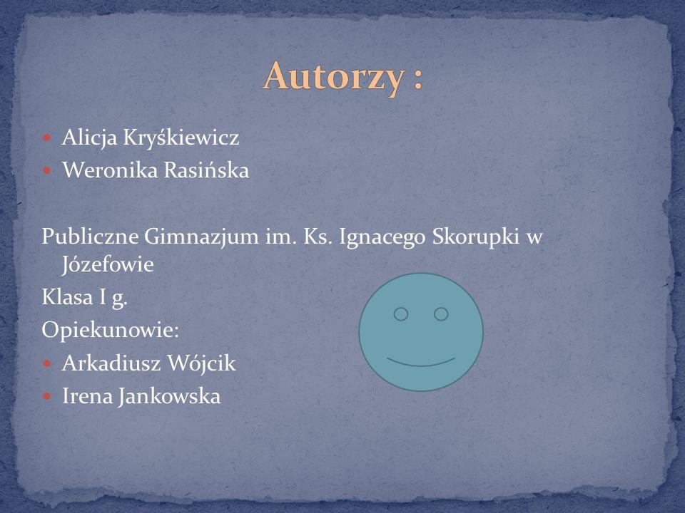 Autorzy : Alicja Kryśkiewicz Weronika Rasińska