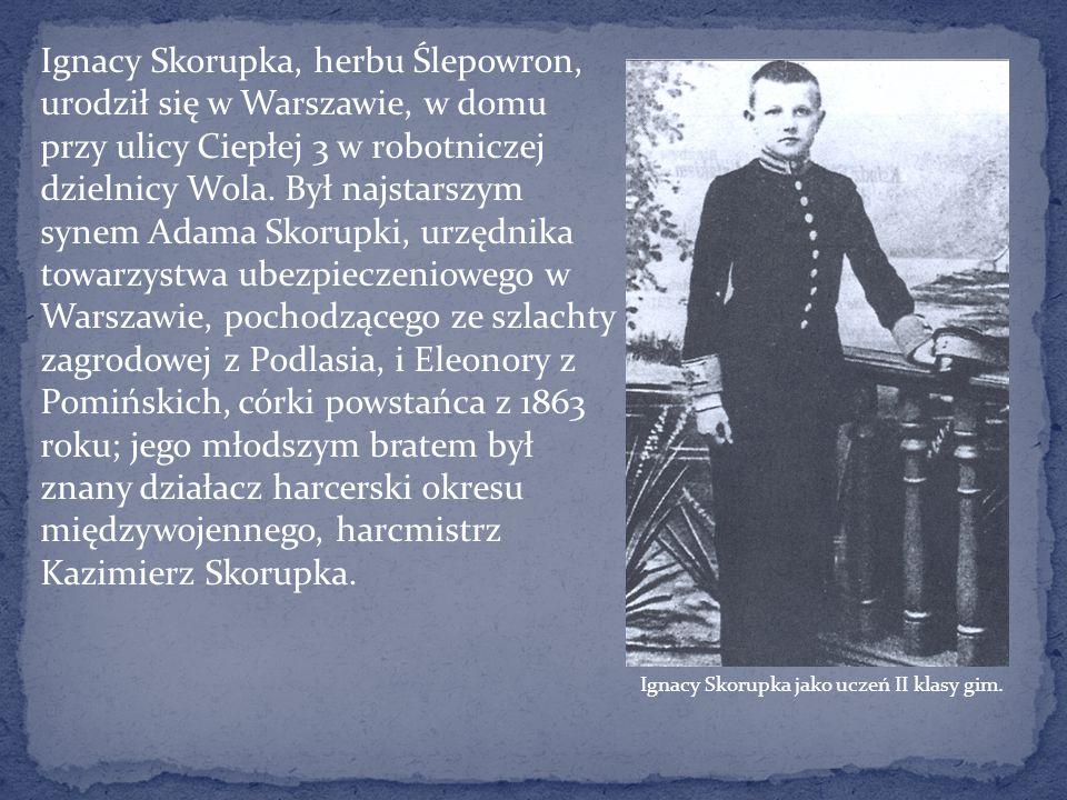 Ignacy Skorupka, herbu Ślepowron, urodził się w Warszawie, w domu przy ulicy Ciepłej 3 w robotniczej dzielnicy Wola. Był najstarszym synem Adama Skorupki, urzędnika towarzystwa ubezpieczeniowego w Warszawie, pochodzącego ze szlachty zagrodowej z Podlasia, i Eleonory z Pomińskich, córki powstańca z 1863 roku; jego młodszym bratem był znany działacz harcerski okresu międzywojennego, harcmistrz Kazimierz Skorupka.