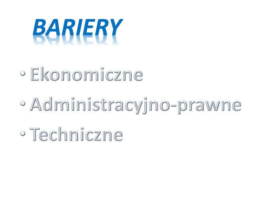 Bariery Ekonomiczne Administracyjno-prawne Techniczne