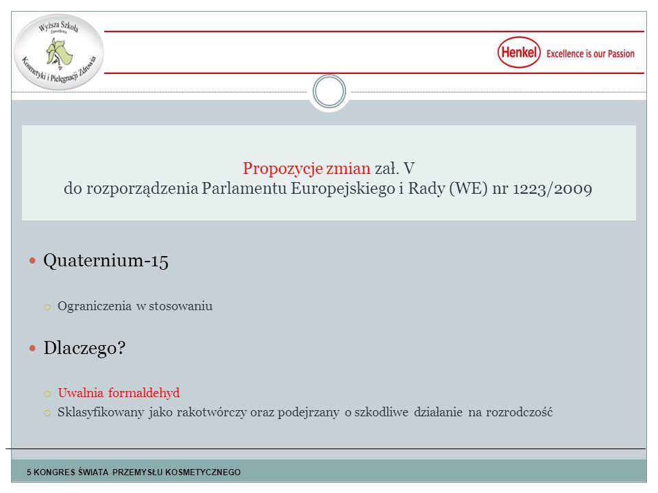 Propozycje zmian zał. V do rozporządzenia Parlamentu Europejskiego i Rady (WE) nr 1223/2009