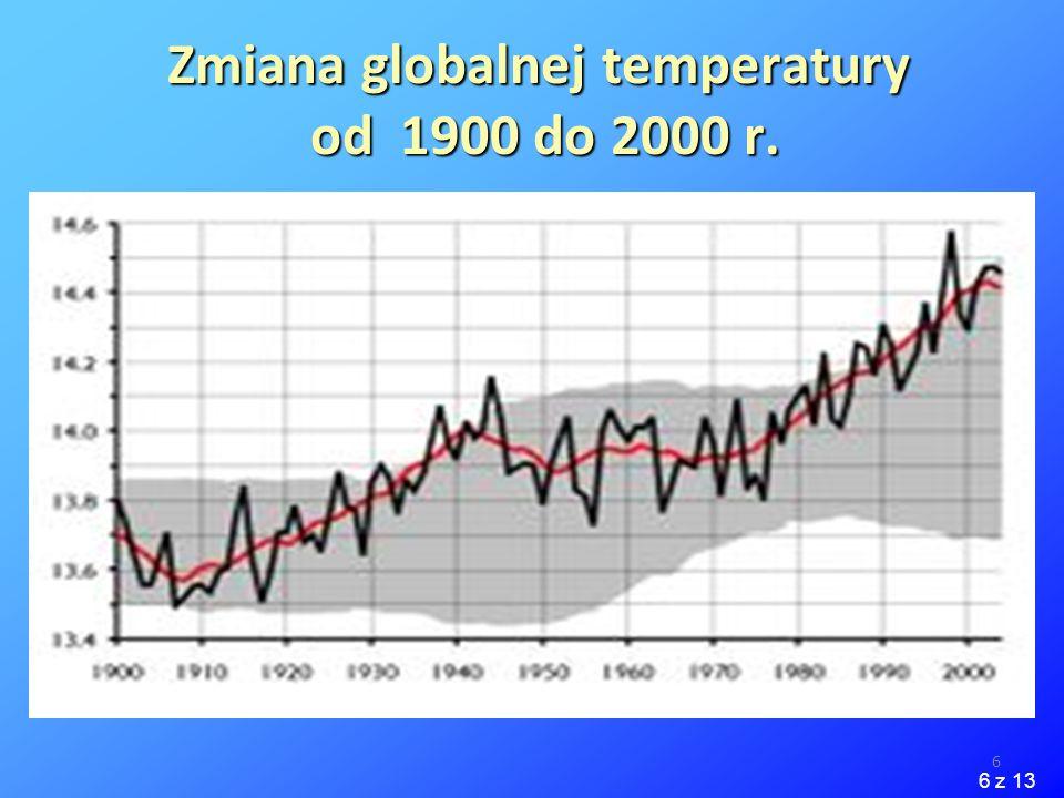 Zmiana globalnej temperatury od 1900 do 2000 r.