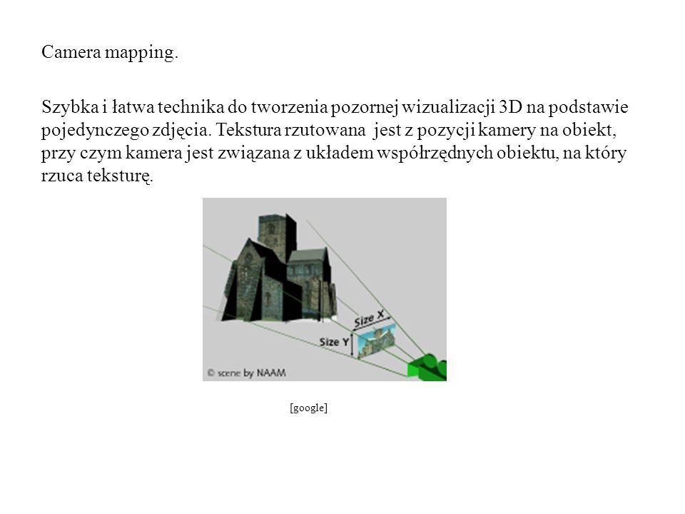 Camera mapping. Szybka i łatwa technika do tworzenia pozornej wizualizacji 3D na podstawie pojedynczego zdjęcia. Tekstura rzutowana jest z pozycji kamery na obiekt, przy czym kamera jest związana z układem współrzędnych obiektu, na który rzuca teksturę.