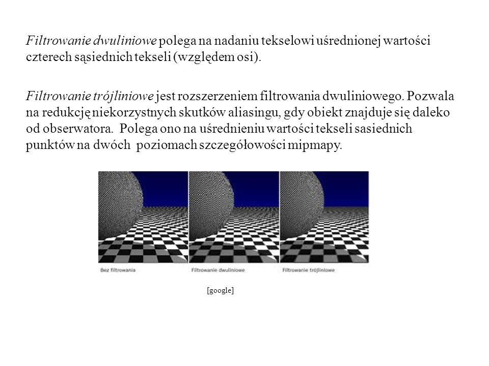 Filtrowanie dwuliniowe polega na nadaniu tekselowi uśrednionej wartości czterech sąsiednich tekseli (względem osi). Filtrowanie trójliniowe jest rozszerzeniem filtrowania dwuliniowego. Pozwala na redukcję niekorzystnych skutków aliasingu, gdy obiekt znajduje się daleko od obserwatora. Polega ono na uśrednieniu wartości tekseli sasiednich punktów na dwóch poziomach szczegółowości mipmapy.