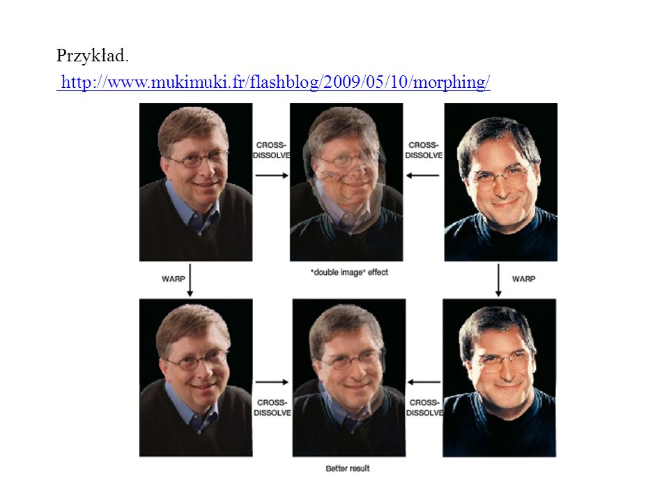 Przykład. http://www.mukimuki.fr/flashblog/2009/05/10/morphing/