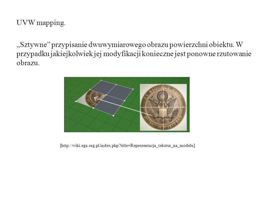 """UVW mapping. """"Sztywne przypisanie dwuwymiarowego obrazu powierzchni obiektu. W przypadku jakiejkolwiek jej modyfikacji konieczne jest ponowne rzutowanie obrazu."""
