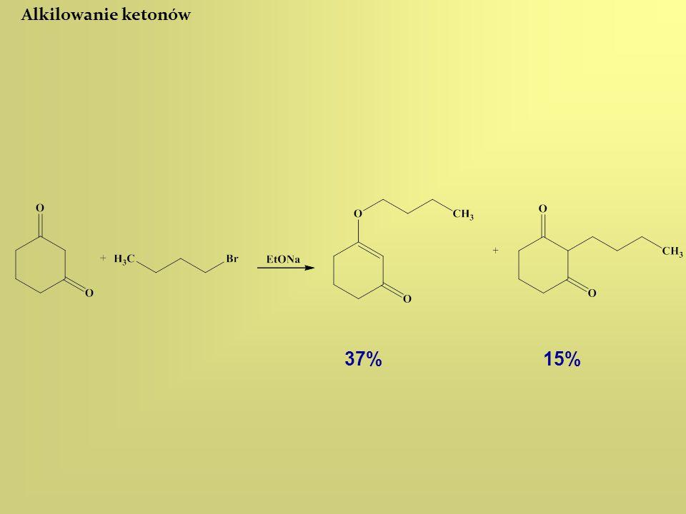 Alkilowanie ketonów 37% 15%