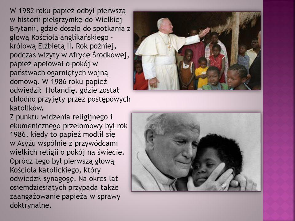 W 1982 roku papież odbył pierwszą w historii pielgrzymkę do Wielkiej Brytanii, gdzie doszło do spotkania z głową Kościoła anglikańskiego – królową Elżbietą II. Rok później, podczas wizyty w Afryce Środkowej, papież apelował o pokój w państwach ogarniętych wojną domową. W 1986 roku papież odwiedził Holandię, gdzie został chłodno przyjęty przez postępowych katolików.