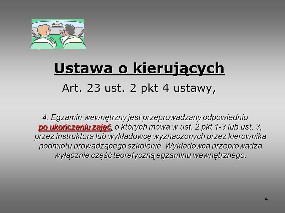 Ustawa o kierujących Art. 23 ust. 2 pkt 4 ustawy,