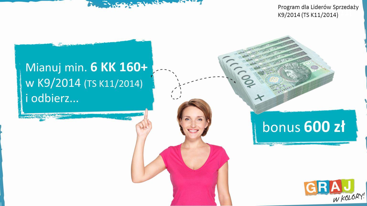 bonus 600 zł Mianuj min. 6 KK 160+ w K9/2014 (TS K11/2014)