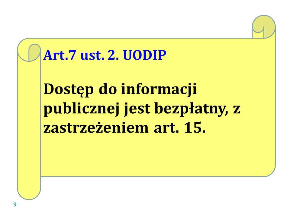 Art.7 ust. 2. UODIP Dostęp do informacji publicznej jest bezpłatny, z zastrzeżeniem art. 15.