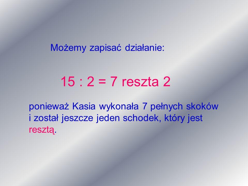 15 : 2 = 7 reszta 2 Możemy zapisać działanie:
