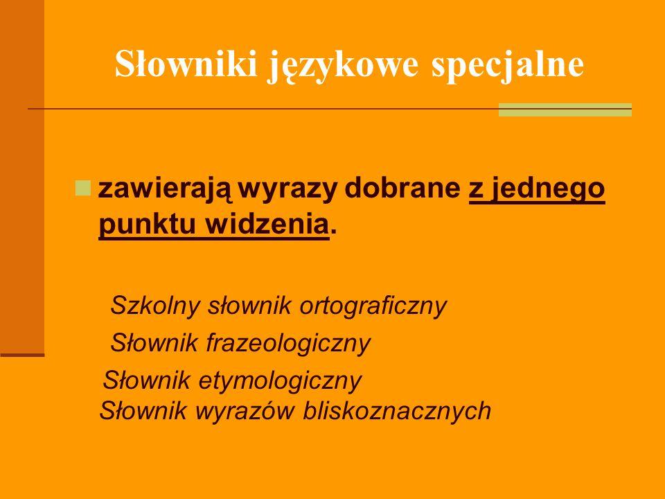 Słowniki językowe specjalne