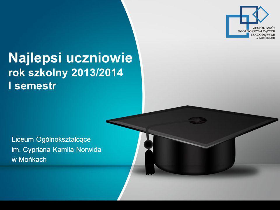 Najlepsi uczniowie rok szkolny 2013/2014 I semestr