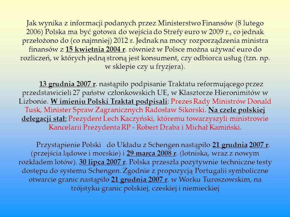 Jak wynika z informacji podanych przez Ministerstwo Finansów (8 lutego 2006) Polska ma być gotowa do wejścia do Strefy euro w 2009 r., co jednak przełożono do (co najmniej) 2012 r.