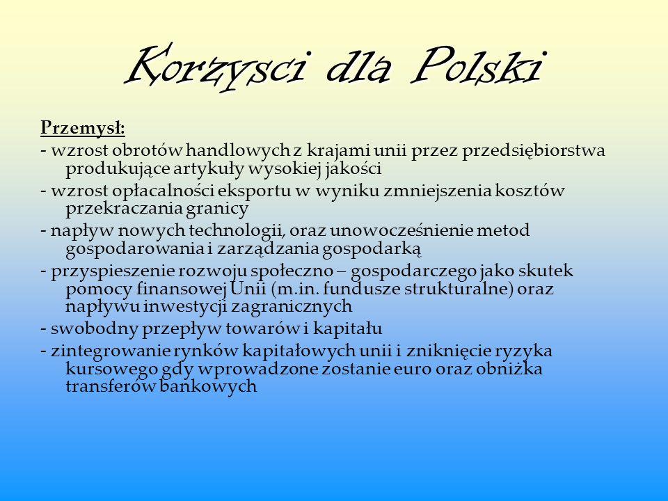 Korzysci dla Polski Przemysł:
