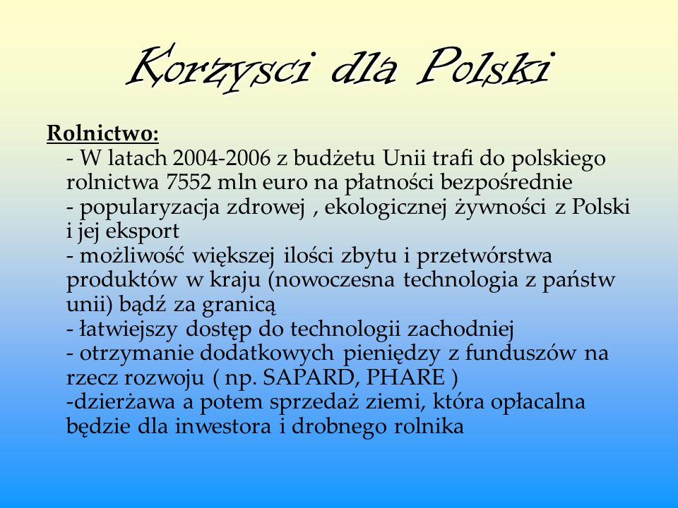 Korzysci dla Polski