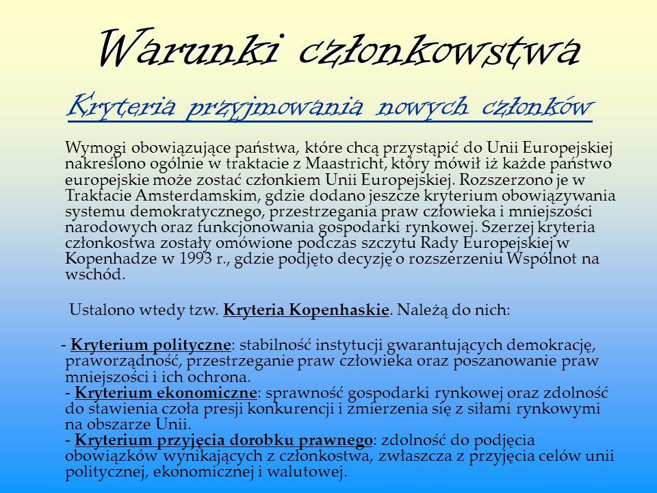 Warunki członkowstwa Kryteria przyjmowania nowych członków.