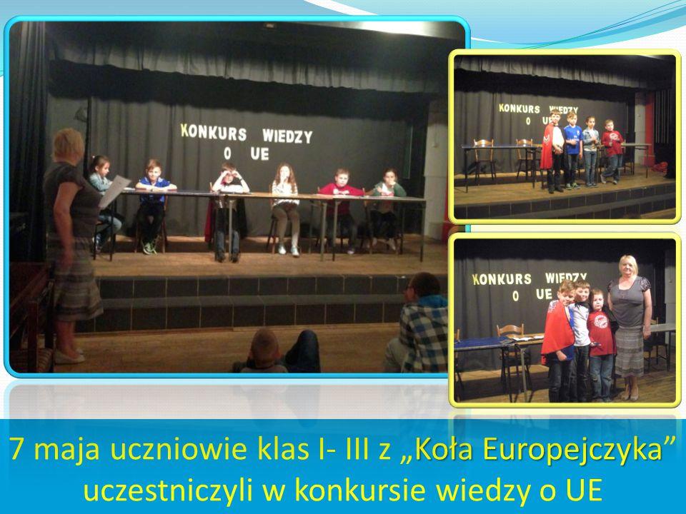 """7 maja uczniowie klas I- III z """"Koła Europejczyka uczestniczyli w konkursie wiedzy o UE"""