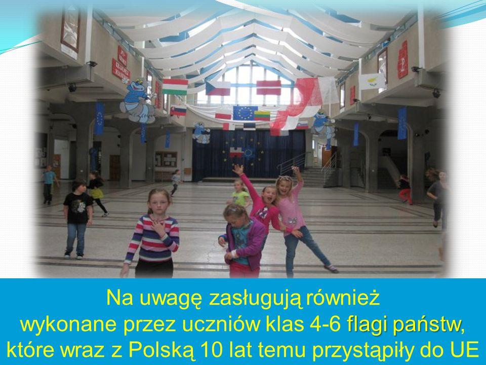 Na uwagę zasługują również wykonane przez uczniów klas 4-6 flagi państw, które wraz z Polską 10 lat temu przystąpiły do UE