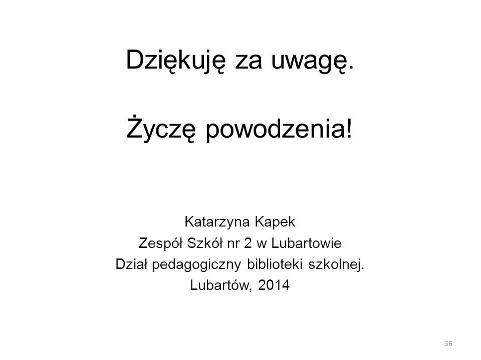 Dziękuję za uwagę. Życzę powodzenia! Katarzyna Kapek