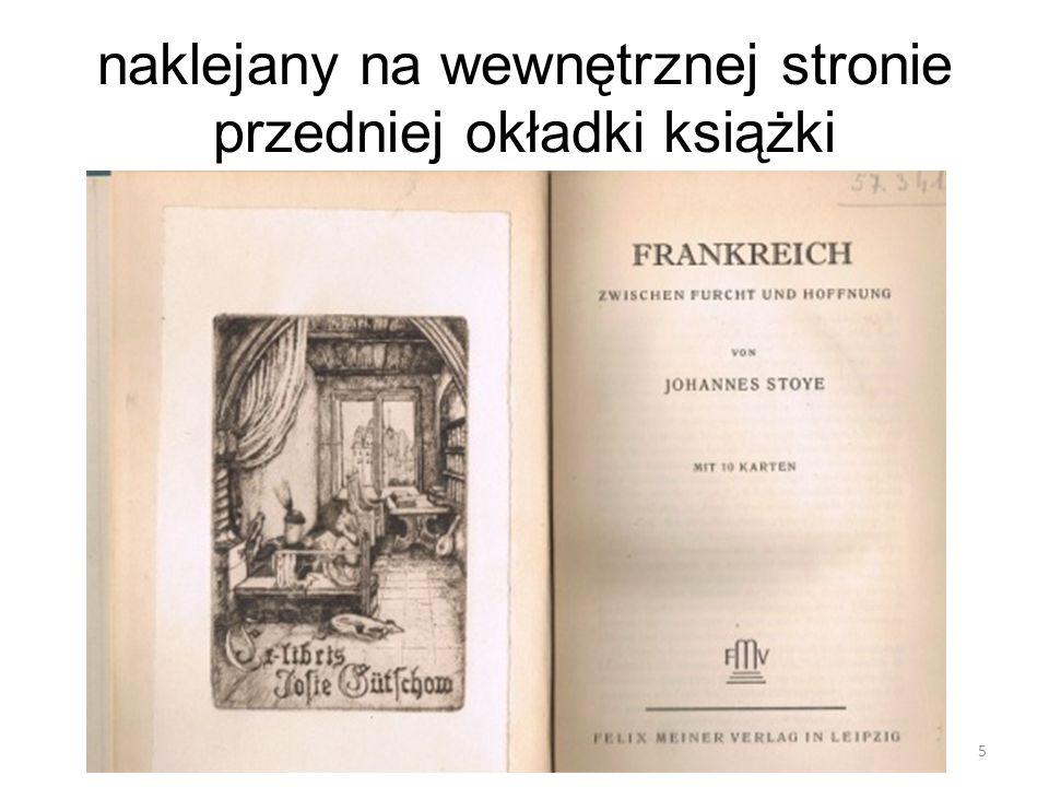 naklejany na wewnętrznej stronie przedniej okładki książki