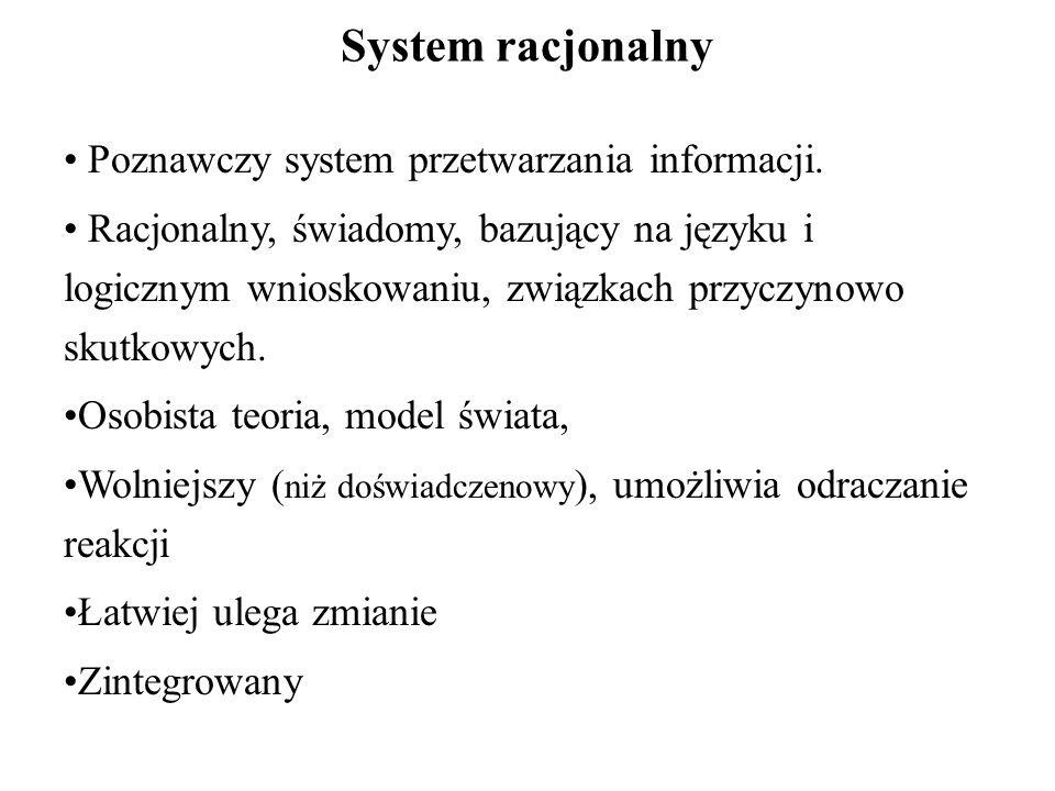 System racjonalny Poznawczy system przetwarzania informacji.