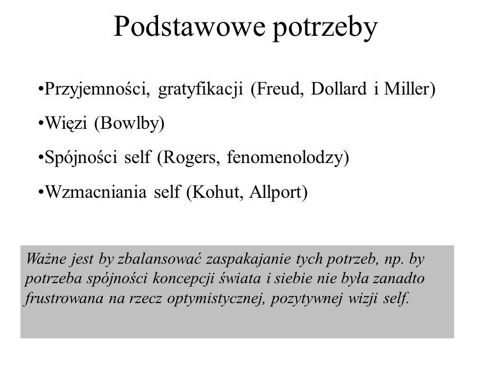 Podstawowe potrzeby Przyjemności, gratyfikacji (Freud, Dollard i Miller) Więzi (Bowlby) Spójności self (Rogers, fenomenolodzy)