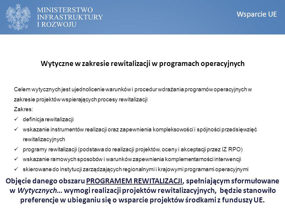 Wytyczne w zakresie rewitalizacji w programach operacyjnych