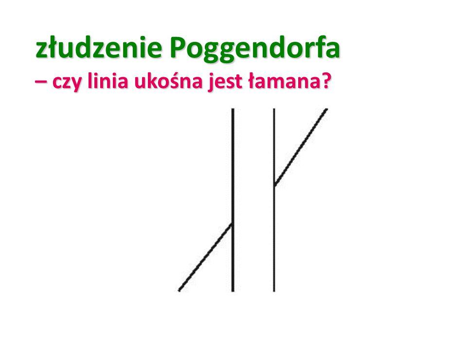 złudzenie Poggendorfa – czy linia ukośna jest łamana