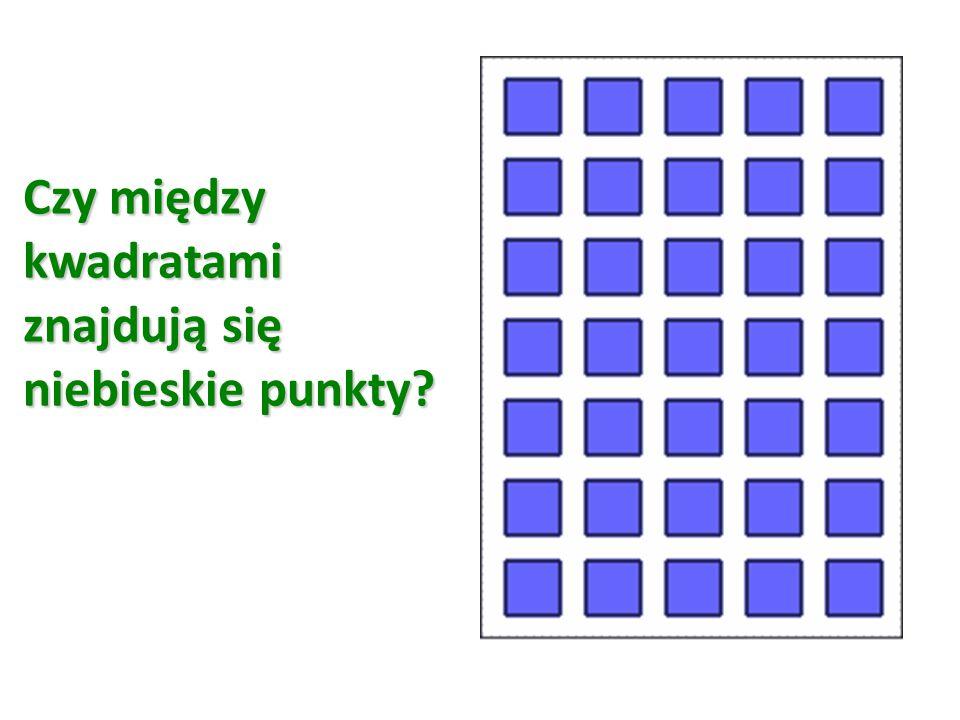 Czy między kwadratami znajdują się niebieskie punkty