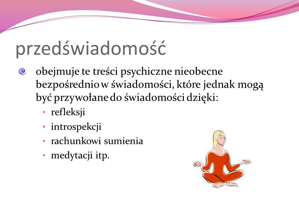 przedświadomość obejmuje te treści psychiczne nieobecne bezpośrednio w świadomości, które jednak mogą być przywołane do świadomości dzięki: