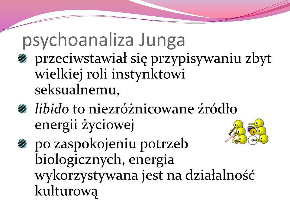 psychoanaliza Junga przeciwstawiał się przypisywaniu zbyt wielkiej roli instynktowi seksualnemu, libido to niezróżnicowane źródło energii życiowej.
