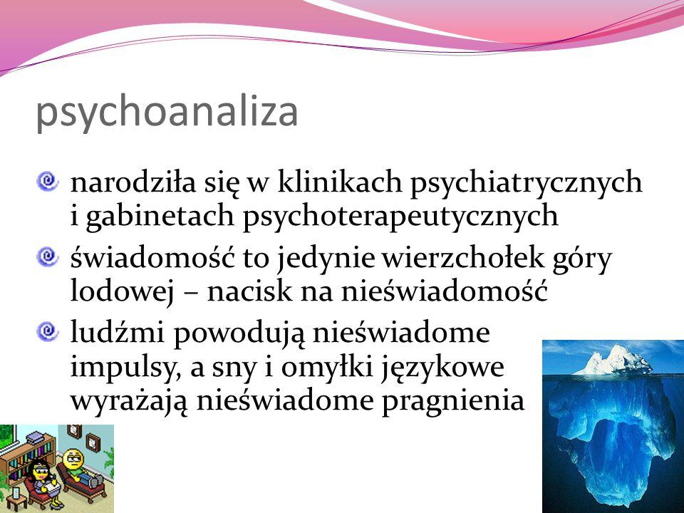psychoanaliza narodziła się w klinikach psychiatrycznych i gabinetach psychoterapeutycznych.
