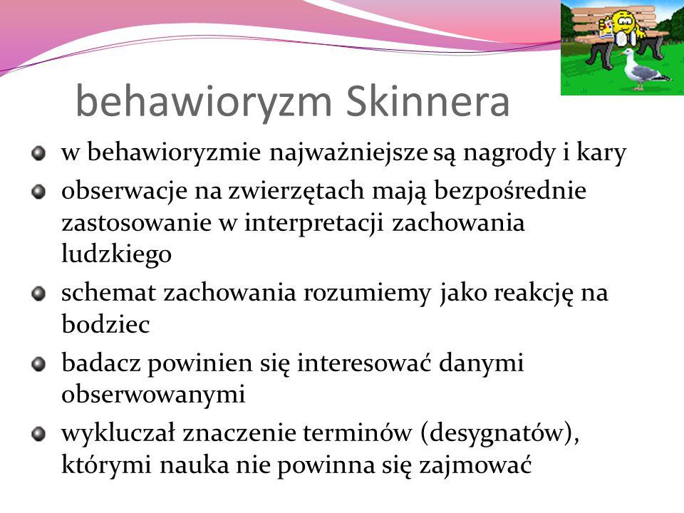 behawioryzm Skinnera w behawioryzmie najważniejsze są nagrody i kary