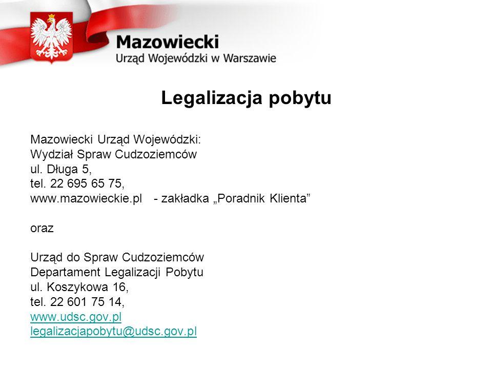 Legalizacja pobytu Mazowiecki Urząd Wojewódzki: