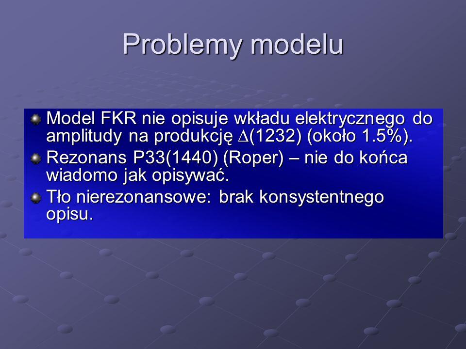 Problemy modelu Model FKR nie opisuje wkładu elektrycznego do amplitudy na produkcję D(1232) (około 1.5%).