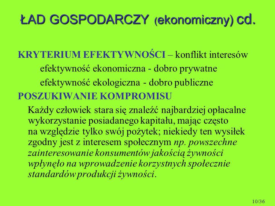 ŁAD GOSPODARCZY (ekonomiczny) cd.
